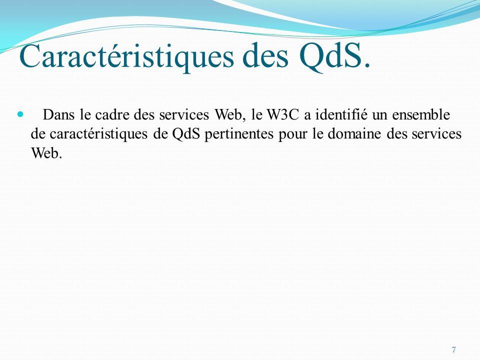Caractéristiques des QdS. Dans le cadre des services Web, le W3C a identifié un ensemble de caractéristiques de QdS pertinentes pour le domaine des se