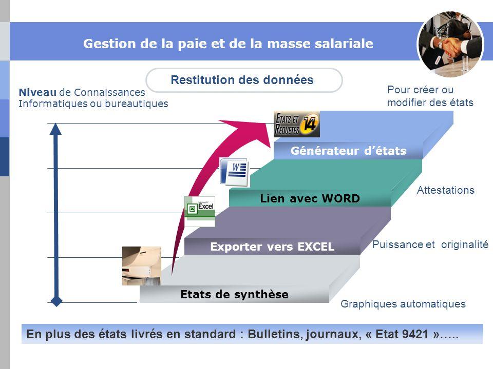 Niveau de Connaissances Informatiques ou bureautiques Générateur détats Lien avec WORD Exporter vers EXCEL Etats de synthèse Graphiques automatiques P