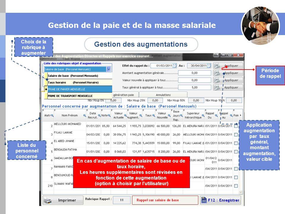 Gestion des augmentations Gestion de la paie et de la masse salariale Choix de la rubrique à augmenter Liste du personnel concerné Application augment