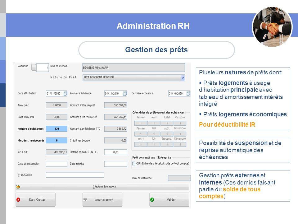 Gestion des prêts Administration RH Plusieurs natures de prêts dont: Prêts logements à usage dhabitation principale avec tableau damortissement intérê