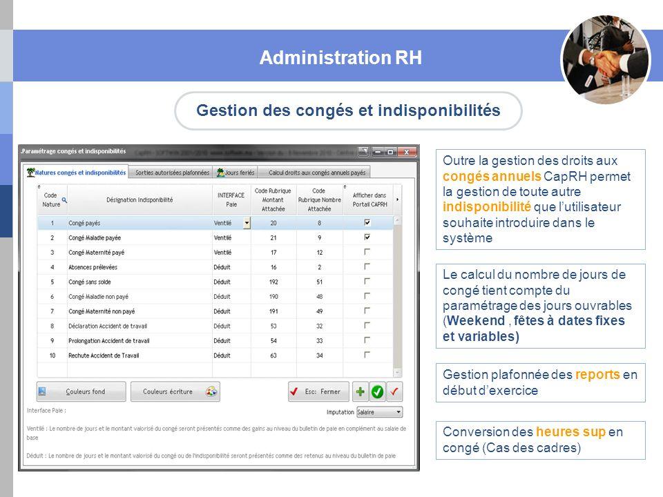 Gestion des congés et indisponibilités Administration RH Outre la gestion des droits aux congés annuels CapRH permet la gestion de toute autre indispo