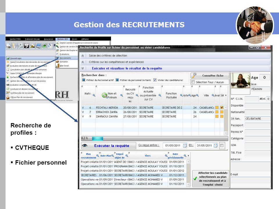 Gestion des RECRUTEMENTS Recherche de profiles : CVTHEQUE Fichier personnel
