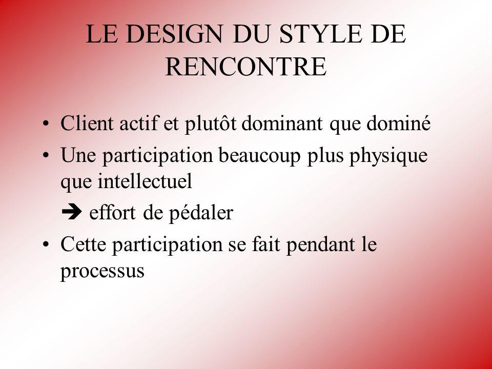 LE DESIGN DU STYLE DE RENCONTRE Client actif et plutôt dominant que dominé Une participation beaucoup plus physique que intellectuel effort de pédaler