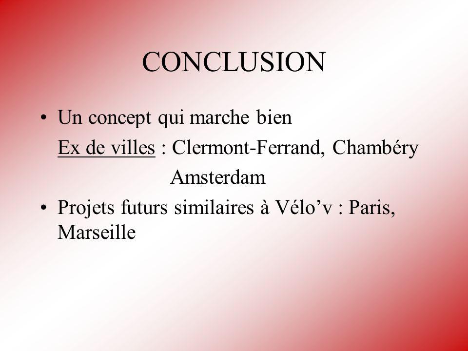CONCLUSION Un concept qui marche bien Ex de villes : Clermont-Ferrand, Chambéry Amsterdam Projets futurs similaires à Vélov : Paris, Marseille