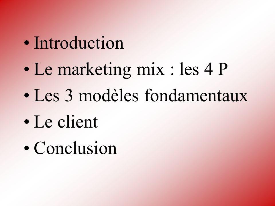 Introduction Le marketing mix : les 4 P Les 3 modèles fondamentaux Le client Conclusion