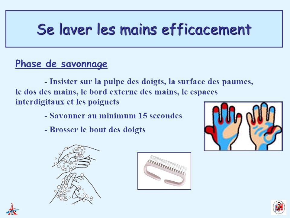 Se laver les mains efficacement Phase de savonnage - Insister sur la pulpe des doigts, la surface des paumes, le dos des mains, le bord externe des ma