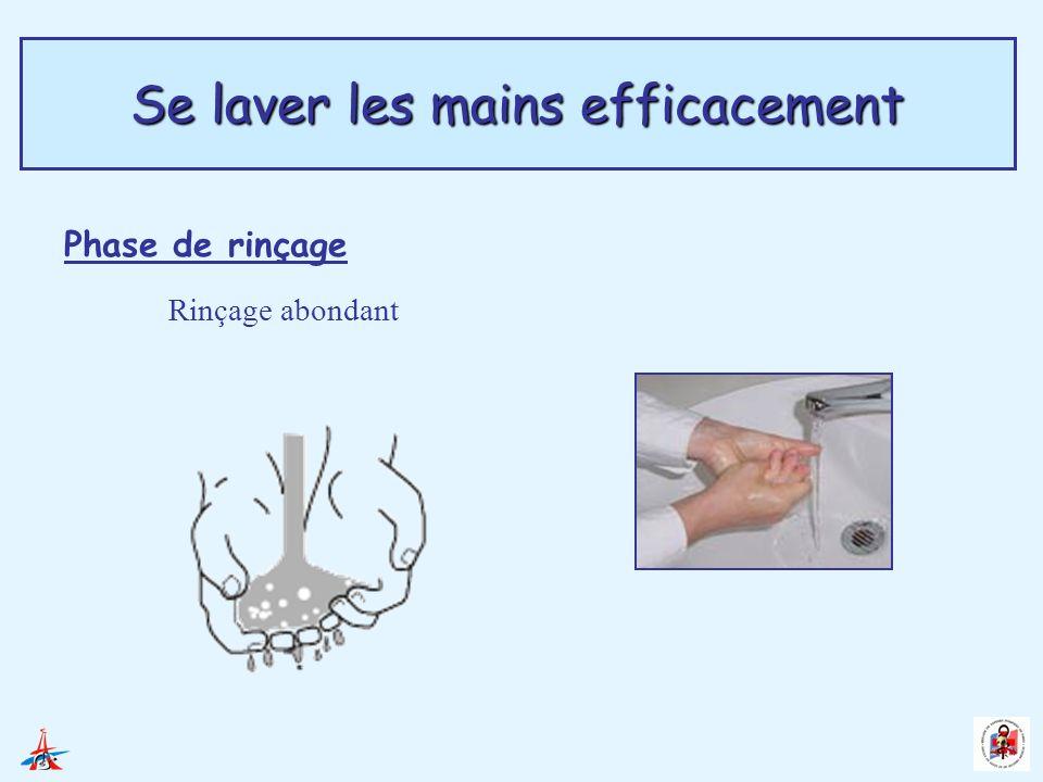 Se laver les mains efficacement Phase de rinçage Rinçage abondant