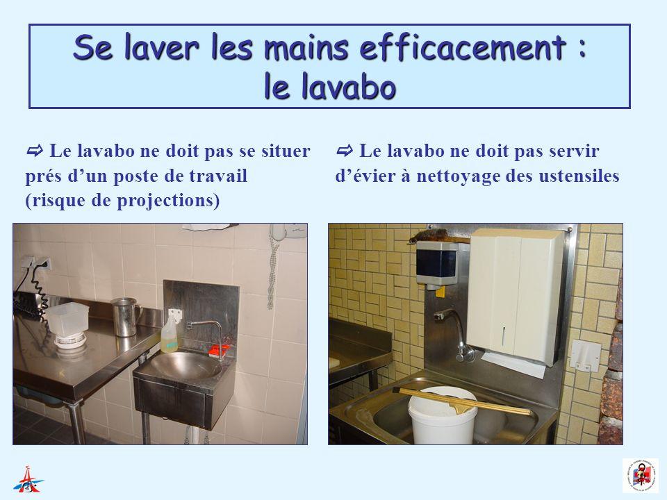 Se laver les mains efficacement : le lavabo Le lavabo doit être facile à nettoyer et entretenu (non bouché…) Le lavabo doit être doté dune commande non manuelle