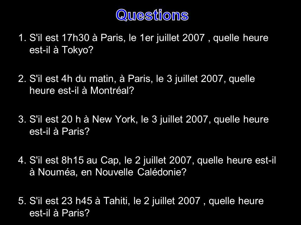 1.S'il est 17h30 à Paris, le 1er juillet 2007, quelle heure est-il à Tokyo? 2. S'il est 4h du matin, à Paris, le 3 juillet 2007, quelle heure est-il à