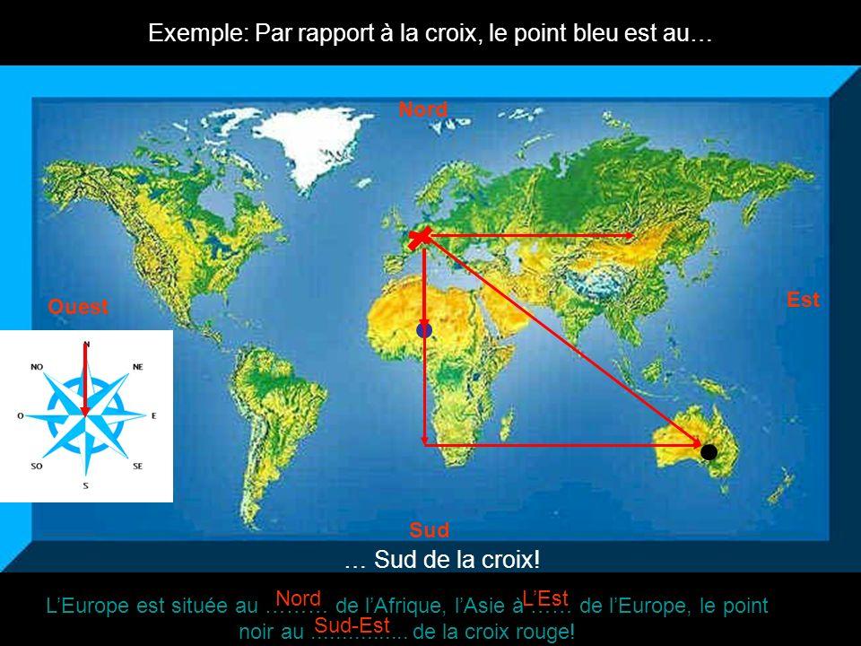 Exemple: Par rapport à la croix, le point bleu est au… … Sud de la croix! LEurope est située au ……… de lAfrique, lAsie à …… de lEurope, le point noir