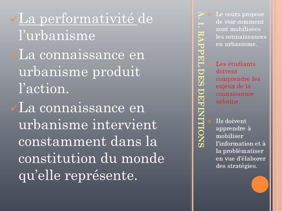 La performativité de lurbanisme La connaissance en urbanisme produit laction. La connaissance en urbanisme intervient constamment dans la constitution