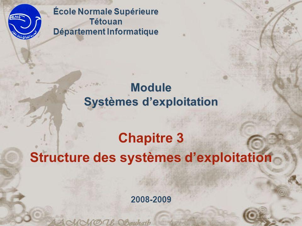 2 Synopsis Structure des systèmes dexploitation –Systèmes monolithiques –Systèmes en couches –Machines virtuelles –Exonoyaux ( Exokernels ) –Model client serveur