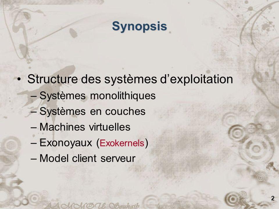 3 Structure des SE Jusquà date notre étude des SE a été du point de vue des programmeurs –Concerné principalement avec les interfaces Comment est-ce que les SE sont structurés.