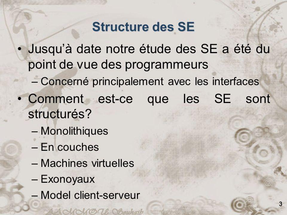 4 Systèmes Monolithiques Dans ce genre dorganisation, les SE ne sont rien de plus quune collection de fonctions à donner des services aux programmeurs Un autre nom pour cela.