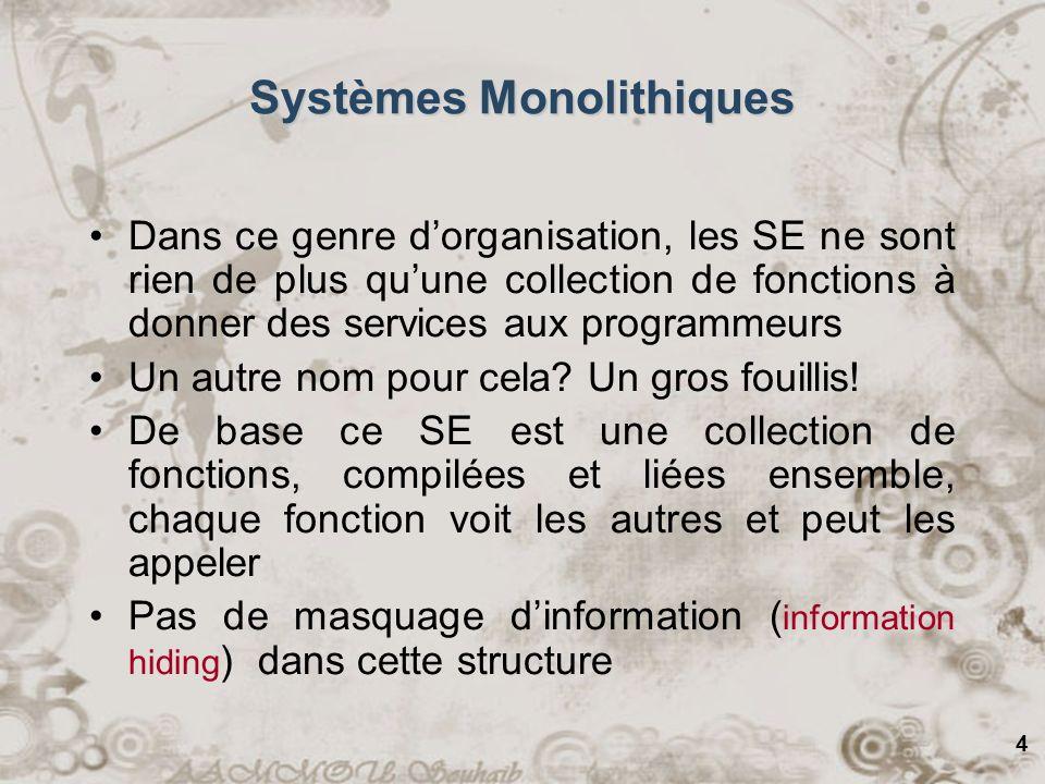 5 Systèmes Monolithiques Est-ce quil y a une structure implicite à cause de la façon demployer le SE.