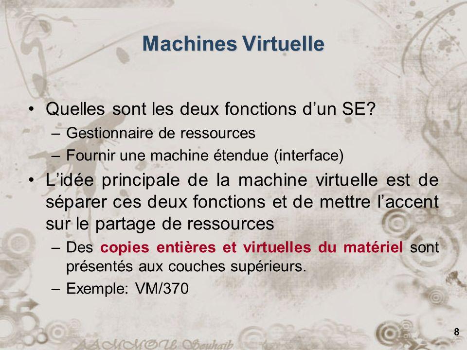 9 Machines Virtuelles Avantages: –Chaque machine virtuelle peut exécuter un SE tout comme sur le matériel.