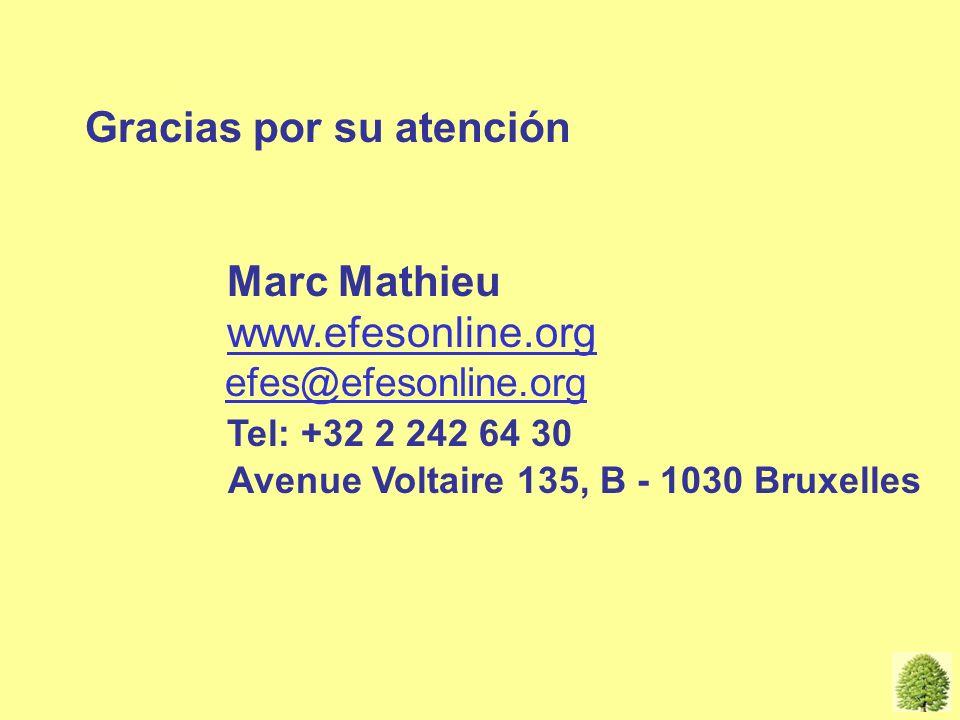 Gracias por su atención Marc Mathieu www.efesonline.org efes@efesonline.org Tel: +32 2 242 64 30 Avenue Voltaire 135, B - 1030 Bruxelles Thanks