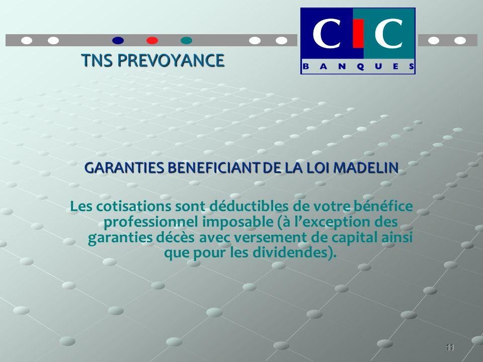 11 TNS PREVOYANCE GARANTIES BENEFICIANT DE LA LOI MADELIN Les cotisations sont déductibles de votre bénéfice professionnel imposable (à lexception des