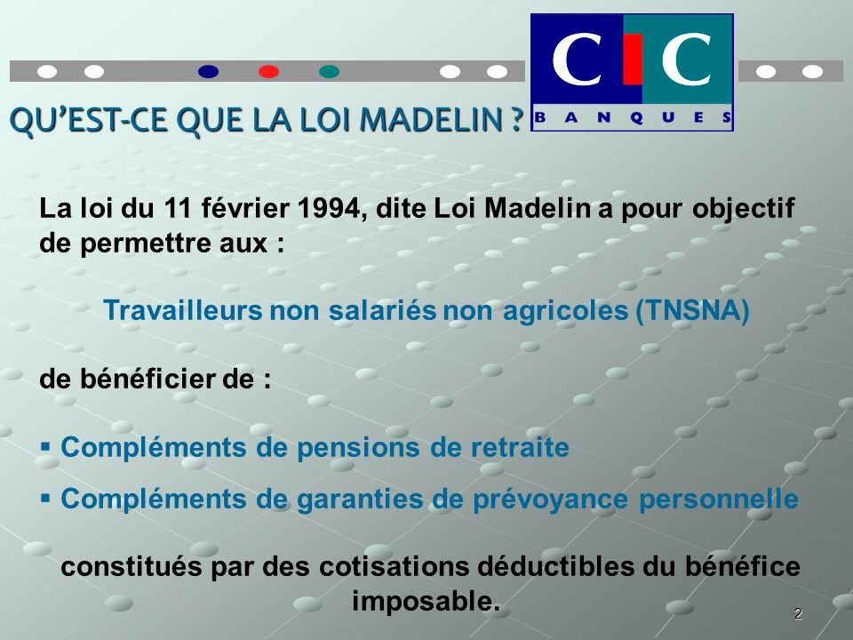 2 QUEST-CE QUE LA LOI MADELIN ? La loi du 11 février 1994, dite Loi Madelin a pour objectif de permettre aux : Travailleurs non salariés non agricoles