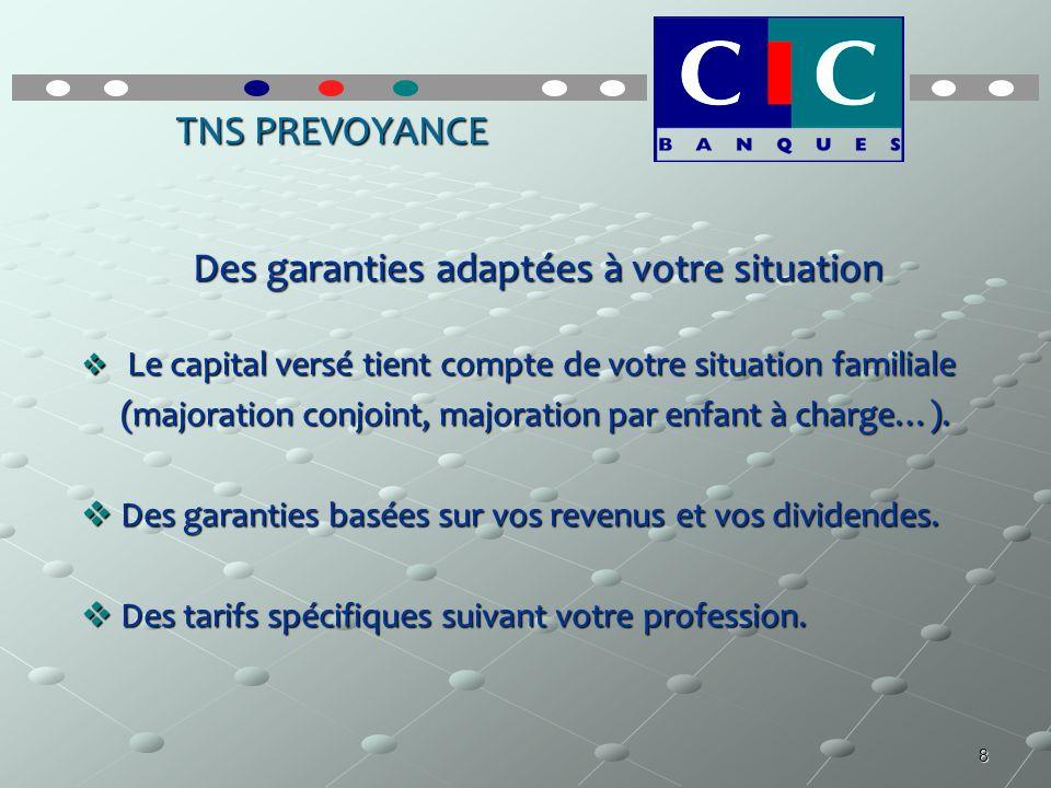8 TNS PREVOYANCE Des garanties adaptées à votre situation Le capital versé tient compte de votre situation familiale Le capital versé tient compte de