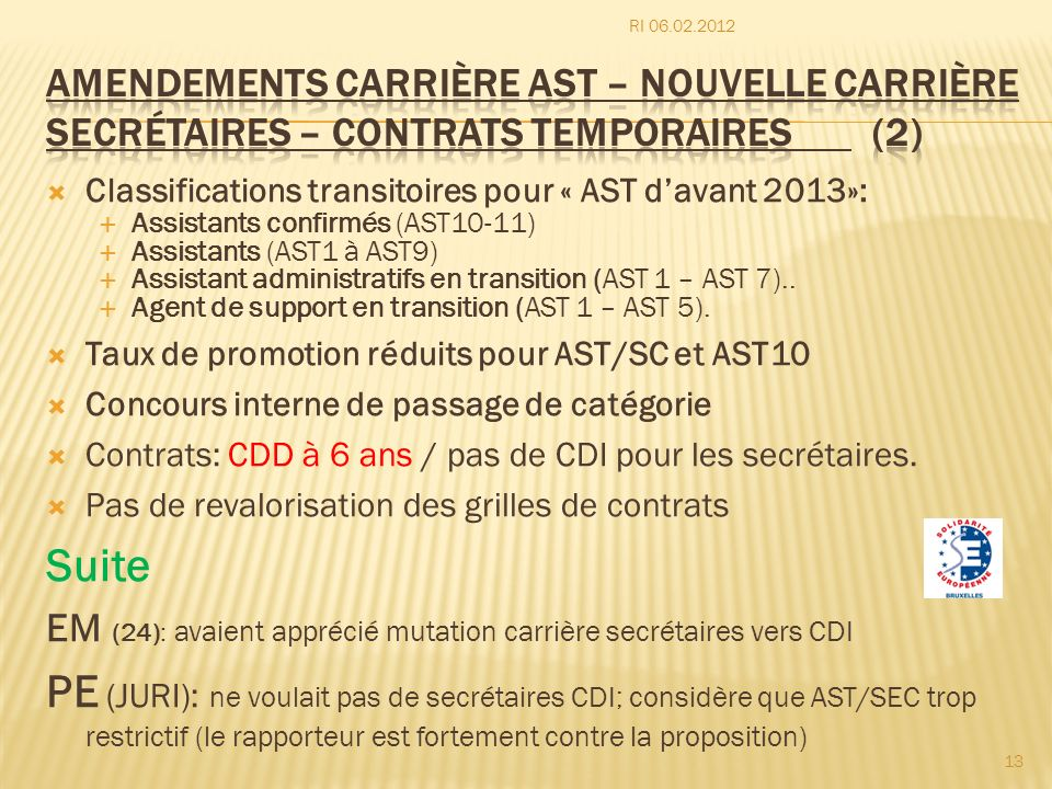 Classifications transitoires pour « AST davant 2013»: Assistants confirmés (AST10-11) Assistants (AST1 à AST9) Assistant administratifs en transition