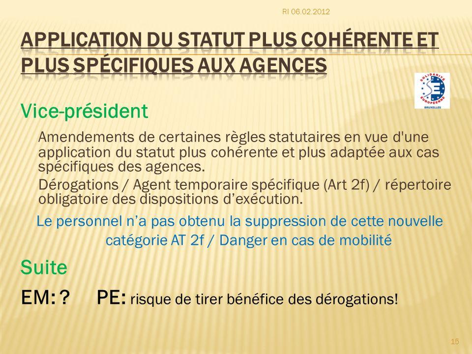Vice-président Amendements de certaines règles statutaires en vue d'une application du statut plus cohérente et plus adaptée aux cas spécifiques des a