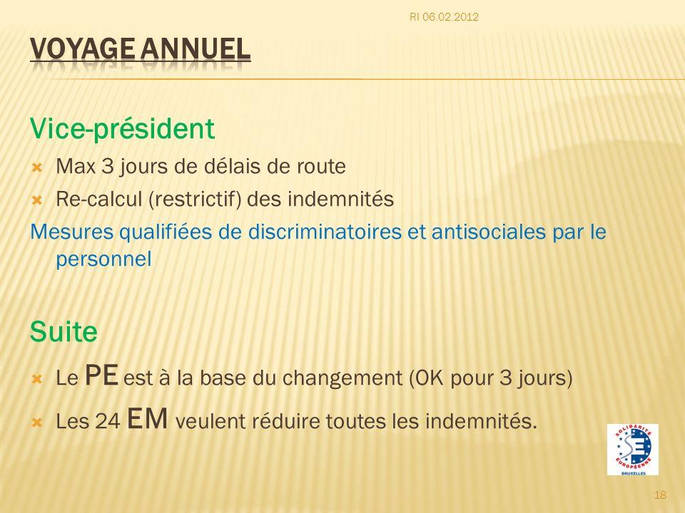 Vice-président Max 3 jours de délais de route Re-calcul (restrictif) des indemnités Mesures qualifiées de discriminatoires et antisociales par le pers