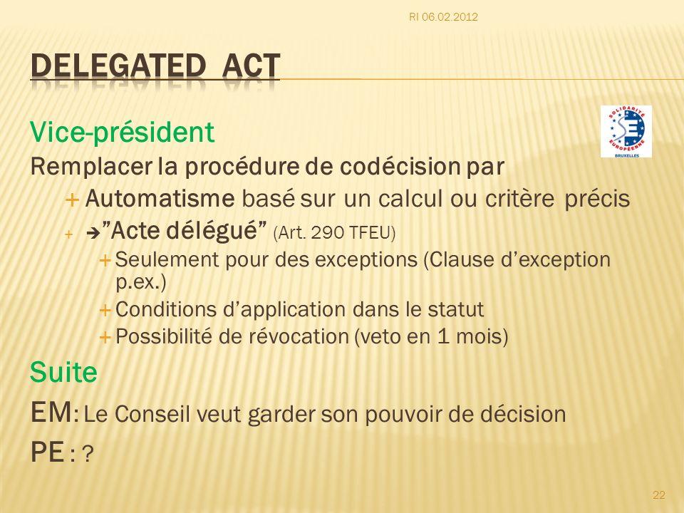 Vice-président Remplacer la procédure de codécision par Automatisme basé sur un calcul ou critère précis Acte délégué (Art. 290 TFEU) Seulement pour d