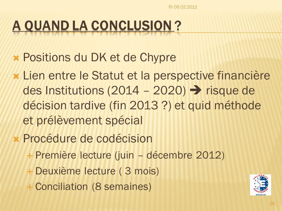 Positions du DK et de Chypre Lien entre le Statut et la perspective financière des Institutions (2014 – 2020) risque de décision tardive (fin 2013 ?)