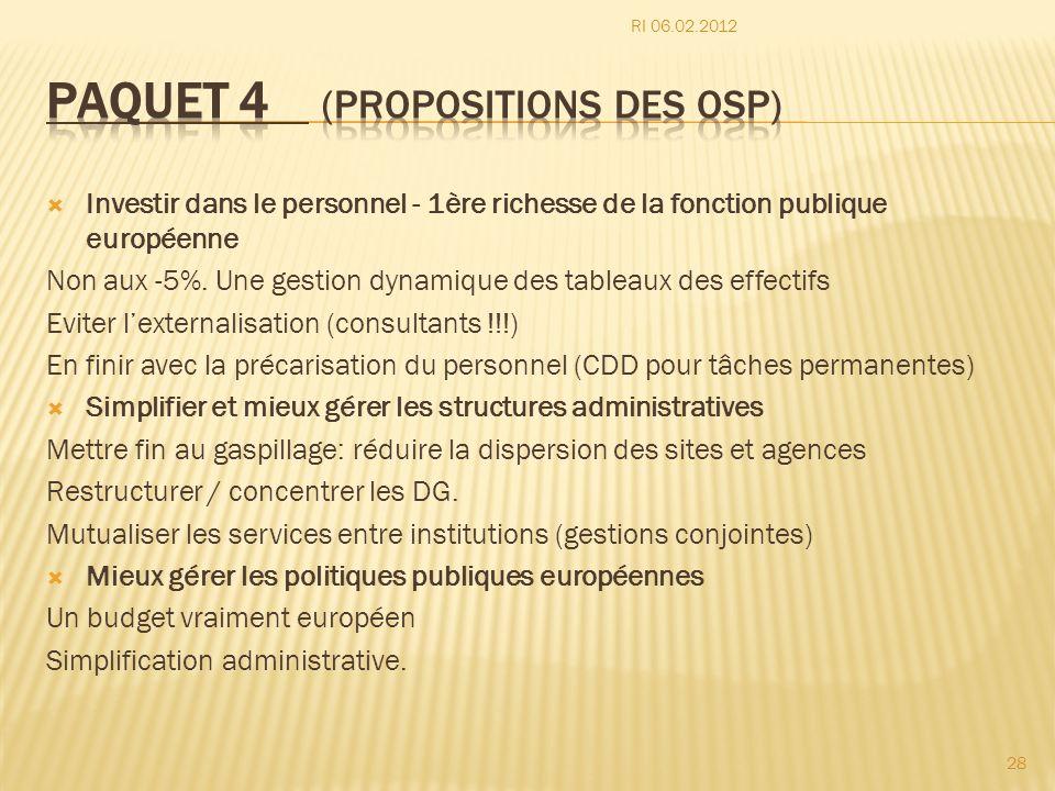 Investir dans le personnel - 1ère richesse de la fonction publique européenne Non aux -5%. Une gestion dynamique des tableaux des effectifs Eviter lex