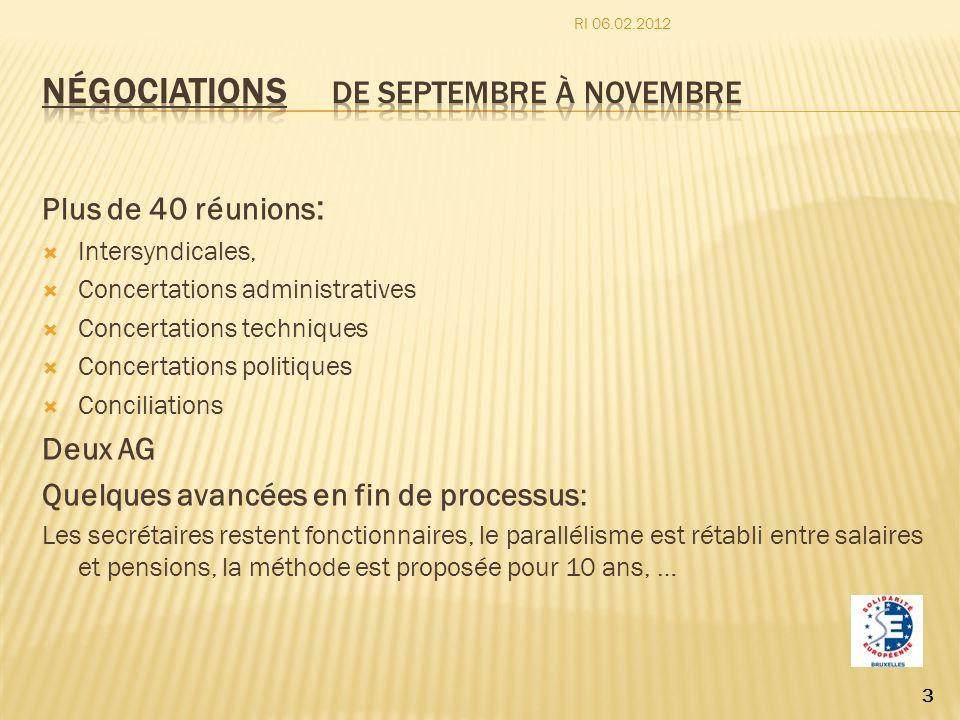 Plus de 40 réunions : Intersyndicales, Concertations administratives Concertations techniques Concertations politiques Conciliations Deux AG Quelques