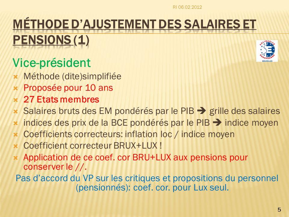 Vice-président Méthode (dite)simplifiée Proposée pour 10 ans 27 Etats membres Salaires bruts des EM pondérés par le PIB grille des salaires indices de