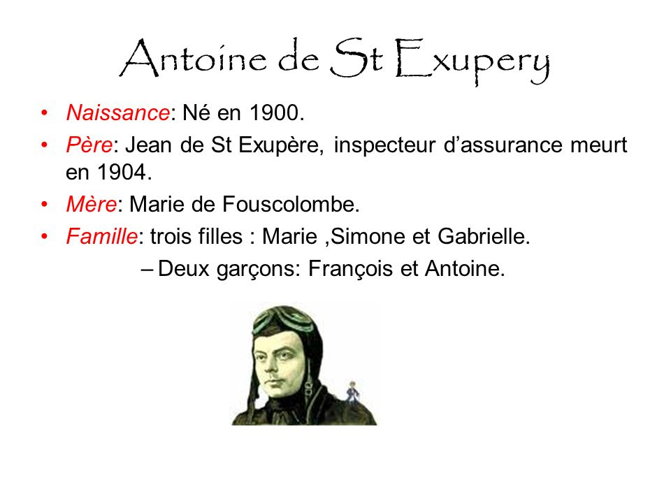 Antoine de St Exupery Naissance: Né en 1900.
