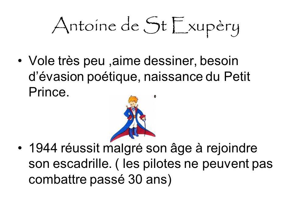 Antoine de St Exupèry Vole très peu,aime dessiner, besoin dévasion poétique, naissance du Petit Prince.