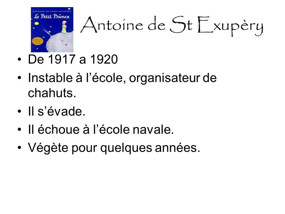 Antoine de St Exupèry 1921: appelé au 2éme régiment daviation de Strasbourg Apprend à voler-seul-avion sécrase-feu