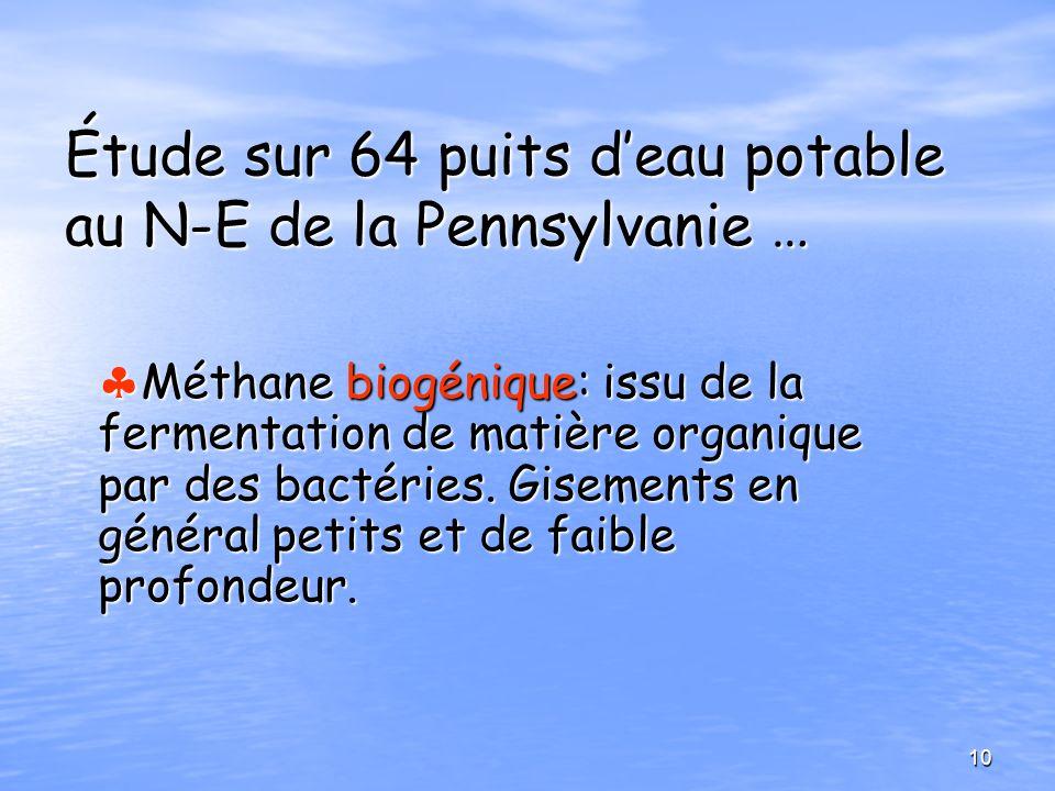 Étude sur 64 puits deau potable au N-E de la Pennsylvanie … Méthane biogénique: issu de la fermentation de matière organique par des bactéries. Giseme