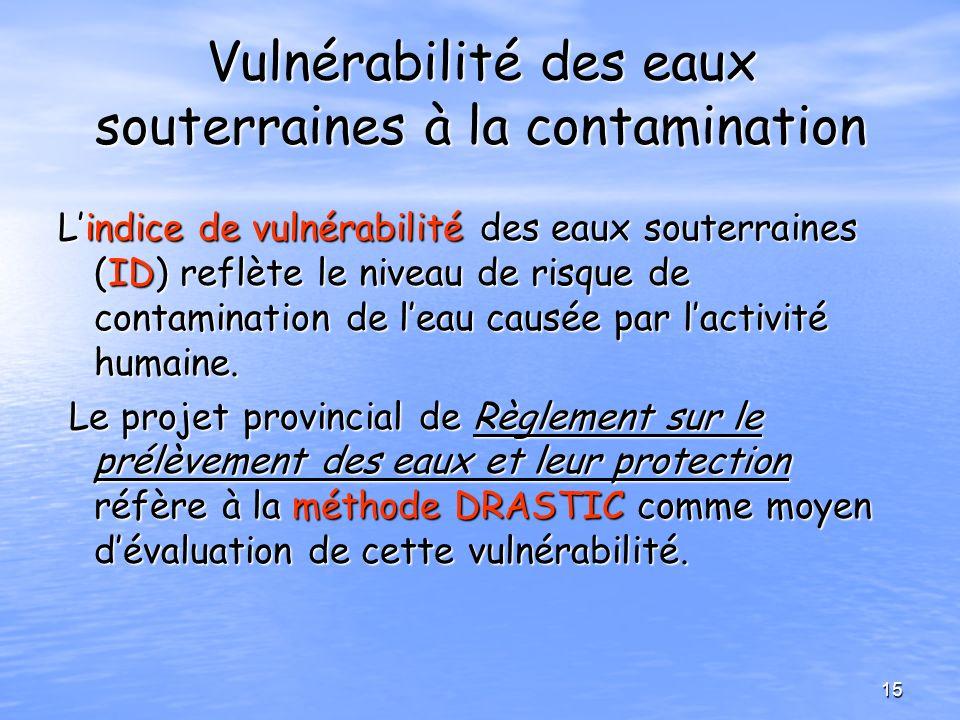 Vulnérabilité des eaux souterraines à la contamination Lindice de vulnérabilité des eaux souterraines (ID) reflète le niveau de risque de contaminatio