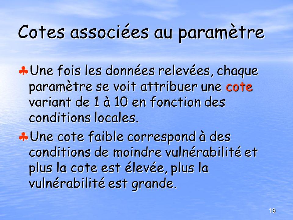 Cotes associées au paramètre Une fois les données relevées, chaque paramètre se voit attribuer une cote variant de 1 à 10 en fonction des conditions l
