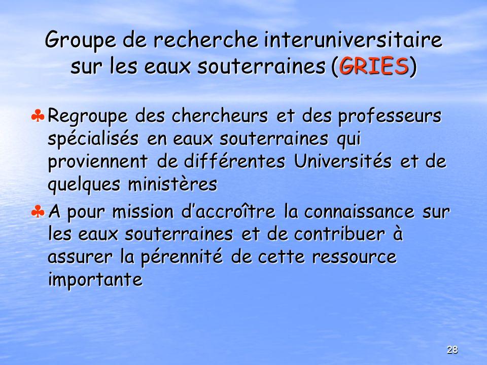 Groupe de recherche interuniversitaire sur les eaux souterraines (GRIES) Regroupe des chercheurs et des professeurs spécialisés en eaux souterraines q