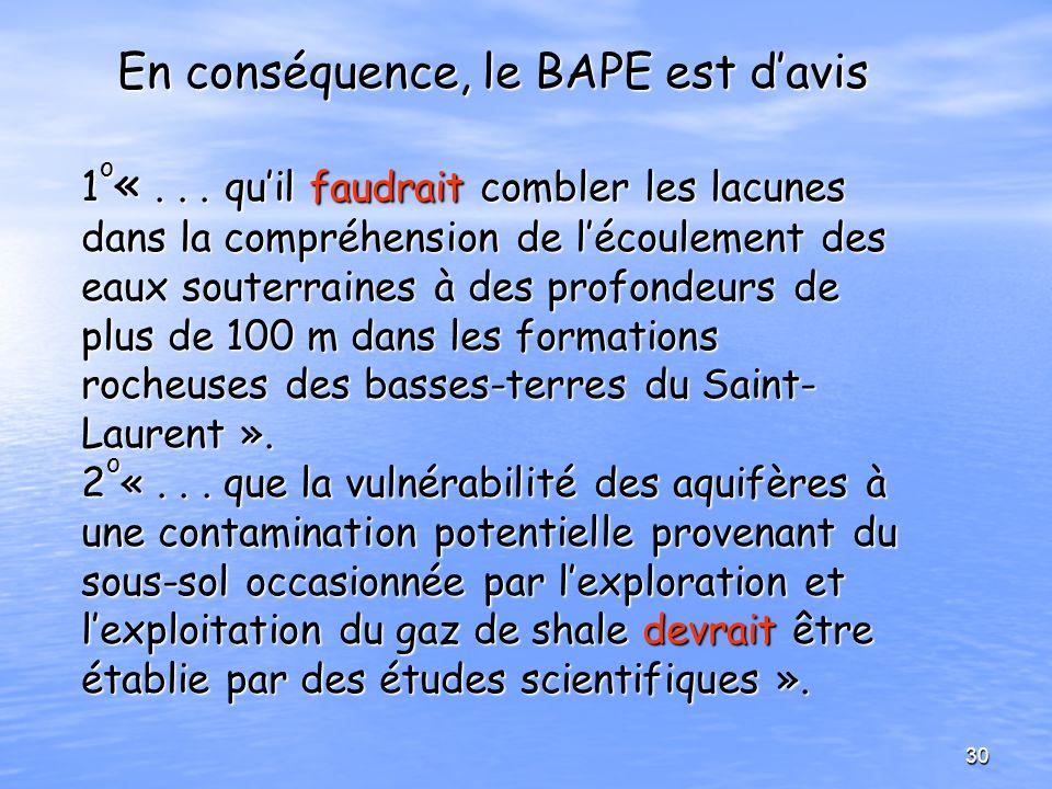 En conséquence, le BAPE est davis 1 o «... quil faudrait combler les lacunes dans la compréhension de lécoulement des eaux souterraines à des profonde
