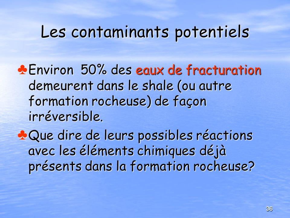 Les contaminants potentiels Environ 50% des eaux de fracturation demeurent dans le shale (ou autre formation rocheuse) de façon irréversible. Environ