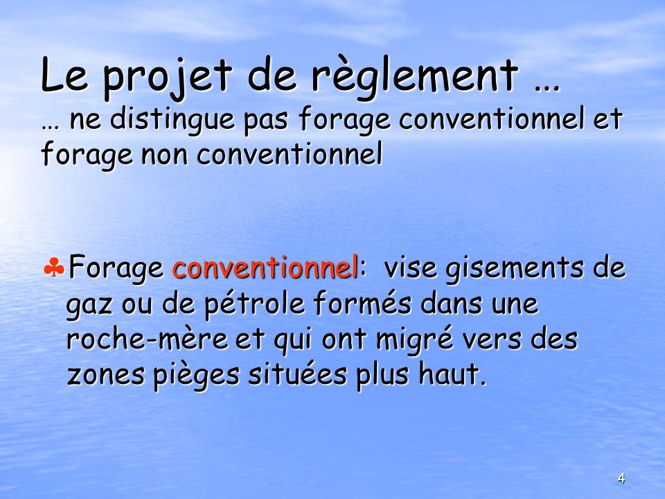 Le projet de règlement … … ne distingue pas forage conventionnel et forage non conventionnel Forage conventionnel: vise gisements de gaz ou de pétrole