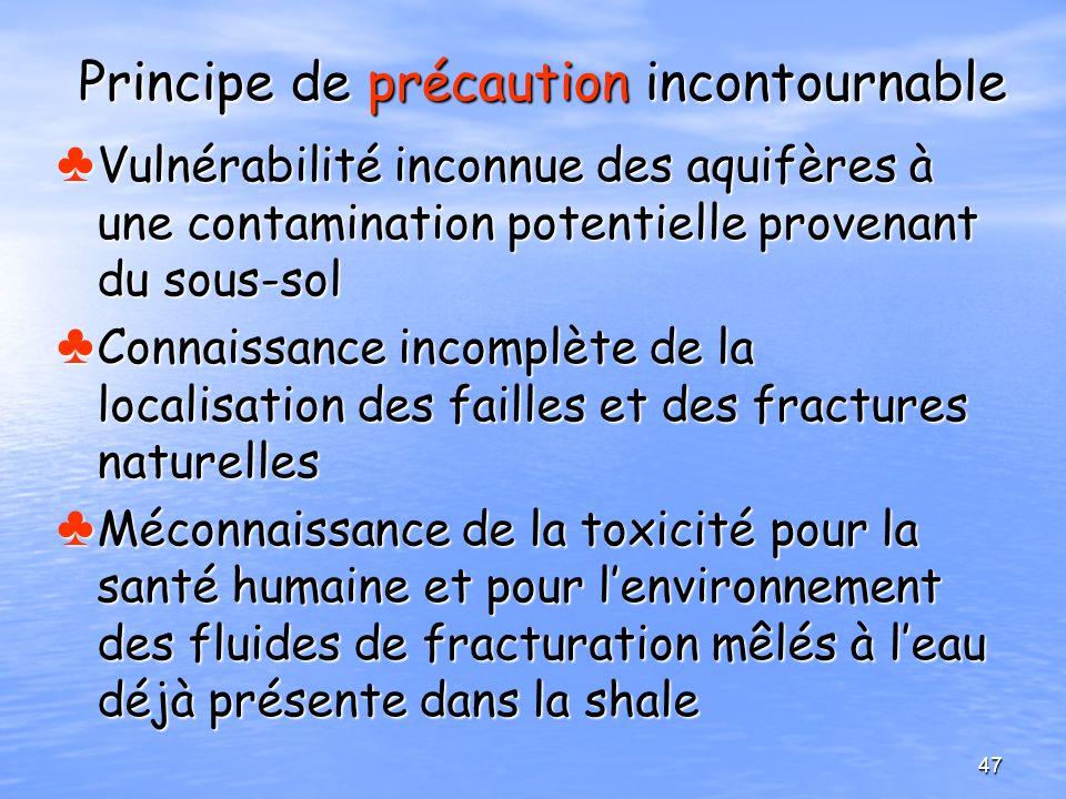 Principe de précaution incontournable Vulnérabilité inconnue des aquifères à une contamination potentielle provenant du sous-sol Vulnérabilité inconnu