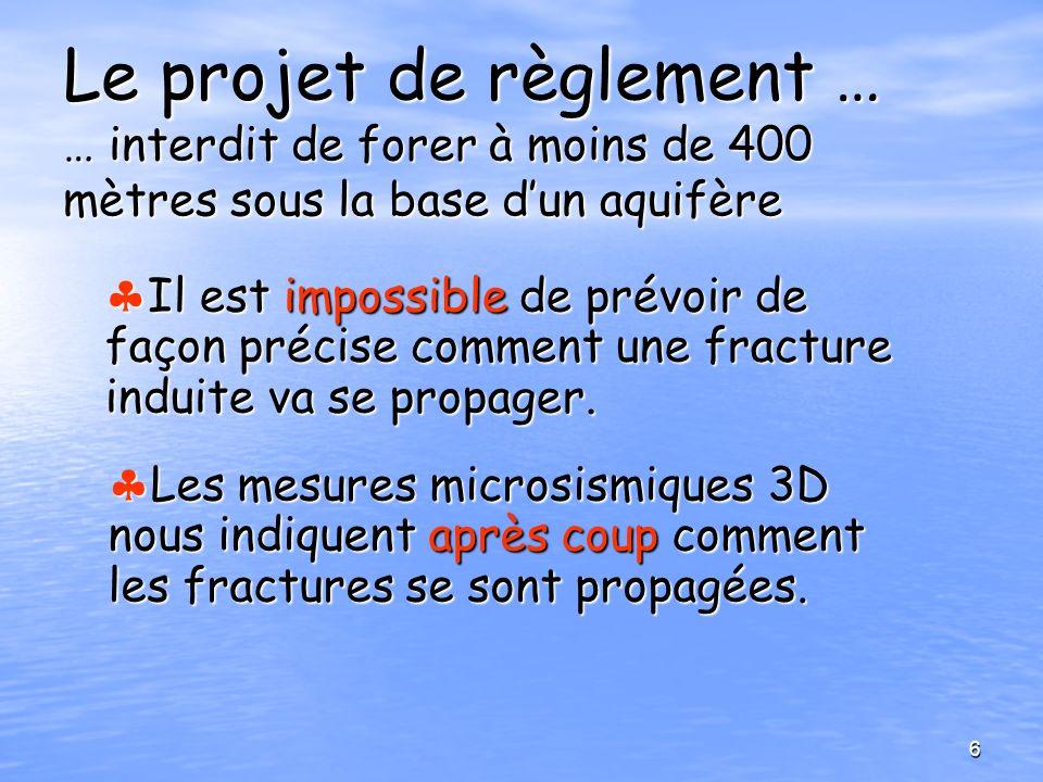 Le projet de règlement … … interdit de forer à moins de 400 mètres sous la base dun aquifère Il est impossible de prévoir de façon précise comment une