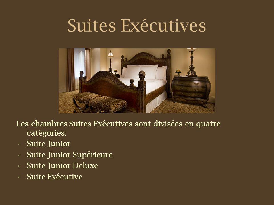 Suites Exécutives Les chambres Suites Exécutives sont divisées en quatre catégories: Suite Junior Suite Junior Supérieure Suite Junior Deluxe Suite Exécutive