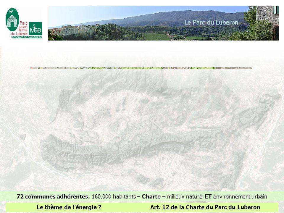 Le Parc du Luberon 72 communes adhérentes, 160.000 habitants – Charte – milieux naturel ET environnement urbain Le thème de lénergie ?Art. 12 de la Ch