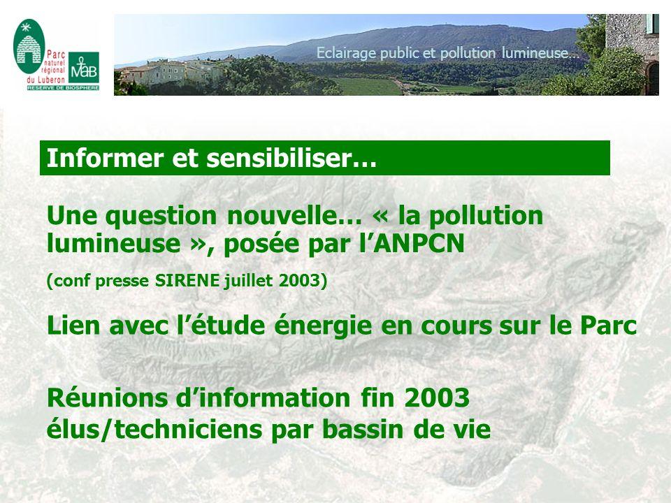 Eclairage public et pollution lumineuse… Une question nouvelle… « la pollution lumineuse », posée par lANPCN (conf presse SIRENE juillet 2003) Lien av