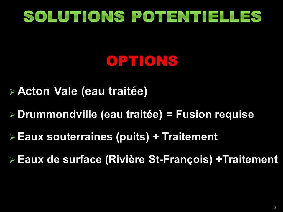 OPTIONS Acton Vale (eau traitée) Drummondville (eau traitée) = Fusion requise Eaux souterraines (puits) + Traitement Eaux de surface (Rivière St-François) +Traitement 10