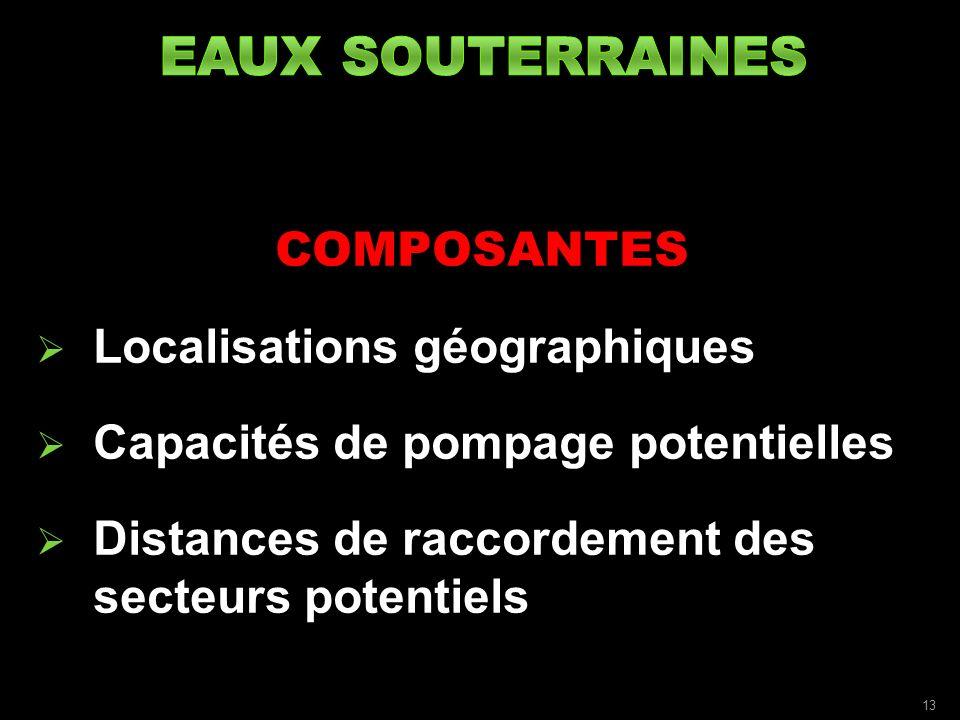 COMPOSANTES Localisations géographiques Capacités de pompage potentielles Distances de raccordement des secteurs potentiels 13
