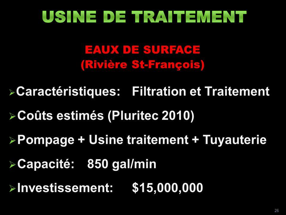 EAUX DE SURFACE (Rivière St-François) Caractéristiques:Filtration et Traitement Coûts estimés (Pluritec 2010) Pompage + Usine traitement + Tuyauterie Capacité:850 gal/min Investissement:$15,000,000 26